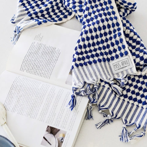 BATH TOWEL | Pom Pom Navy by Miss April Towels