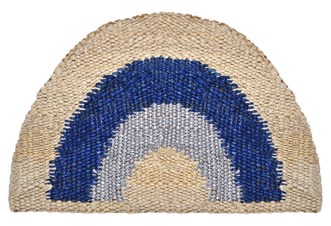DOORMAT | Aquarius Half Round | Blue/Silver by Langdon Ltd
