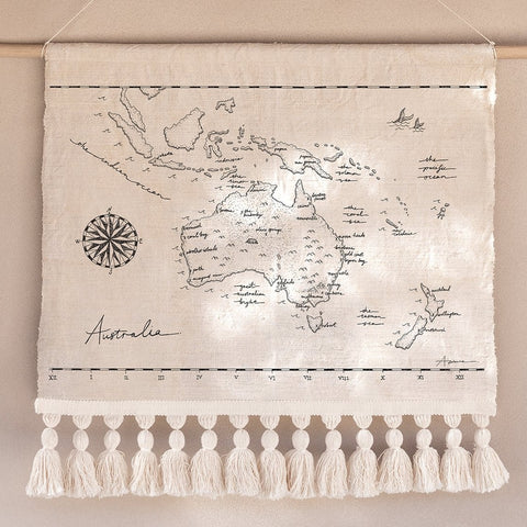 WALL HANGING | The Australia Map with Tassels by Atlas the Collective