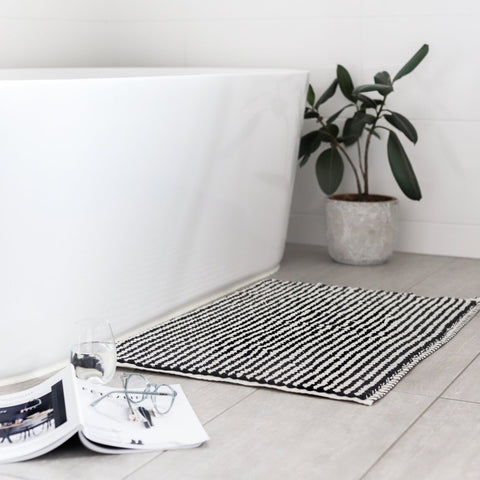 BATH MAT | Pom Pom Black & White by Miss April Towels
