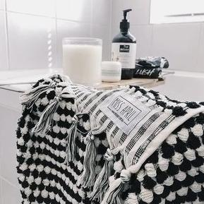 BATH TOWEL | Pom Pom Black by Miss April Towels