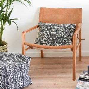OTTOMAN | Mudcloth Charcoal by Collective Sol