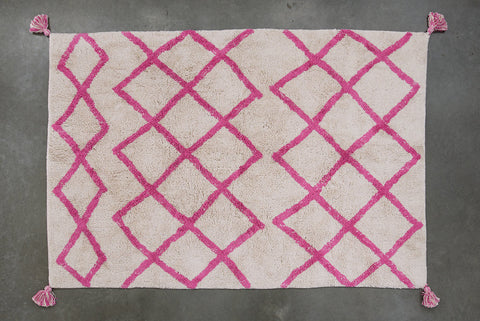 FLOOR RUG | Cotton Berber Pink Diamond by OHH