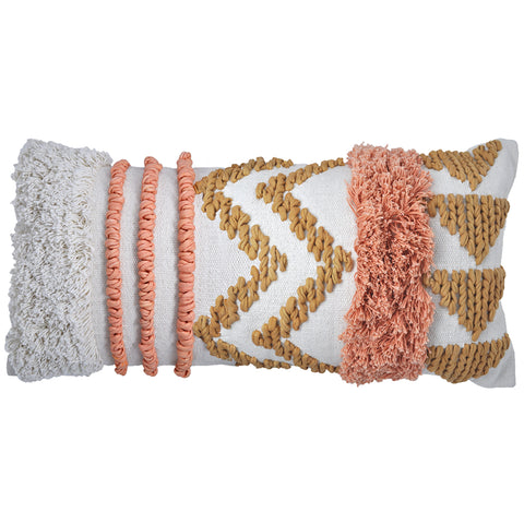 CUSHION | Darcy Rectangular Fringe Cushion | Peach/Tan by Langdon LTD