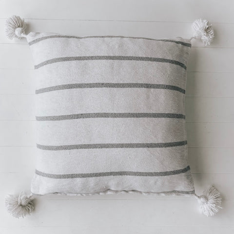 CUSHION | Harper Moroccan Cushion White with Grey Stripe by Collective Sol