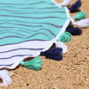 BEACH TOWEL | Panama Roundie Navy & Green Turkish by Miss April Towels