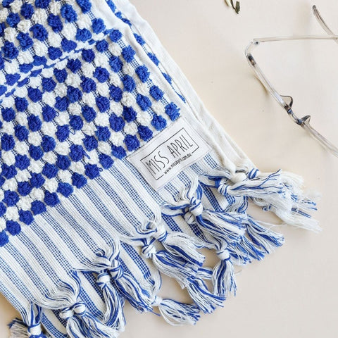 HAND TOWEL | Pom Pom Navy by Miss April Towels