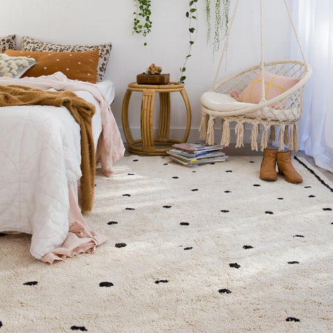 FLOOR RUG | Cotton Berber - Going Dotty Black by OHH