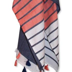 BEACH TOWEL | Panama Roundie Navy & Coral Turkish by Miss April Towels