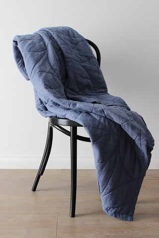 BLANKET | circle-stitched Indigo linen by bedtonic