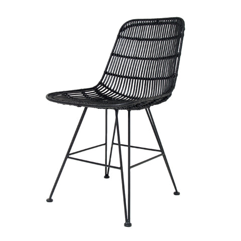 DINING CHAIR | rattan in black design by hk living