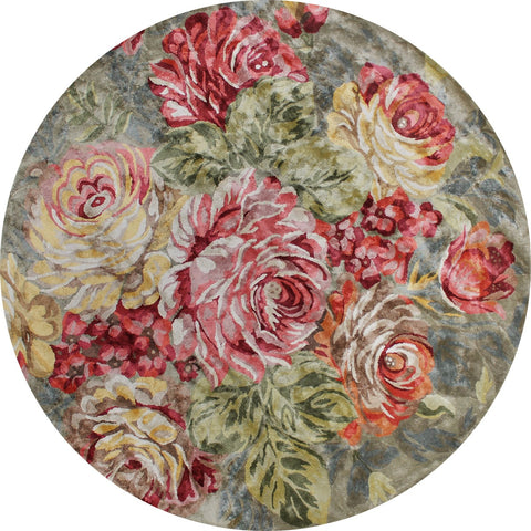 FLOOR RUG | Romance Forest Green Round by The Rug Collection