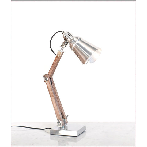 TABLE LAMP | chrome and wood industrial-style