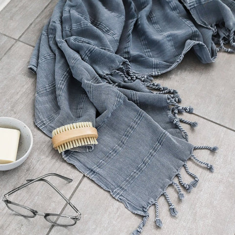 BATH TOWEL | Stonewashed Turkish Towel Pale Grey by Miss April Towels