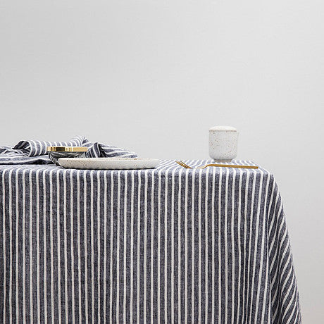 TABLE CLOTH | indigo + white striped linen by Cultiver