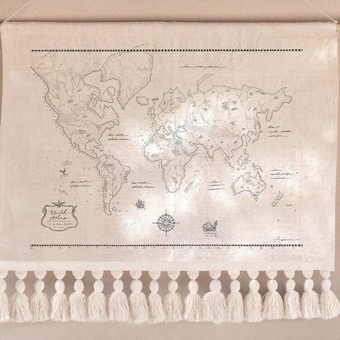 WALL HANGING | The World Atlas small with tassels by Atas The Collective