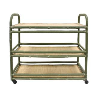 BAR CART | SIDE TABLE | Rattan Trolley Shelf By Hk Living
