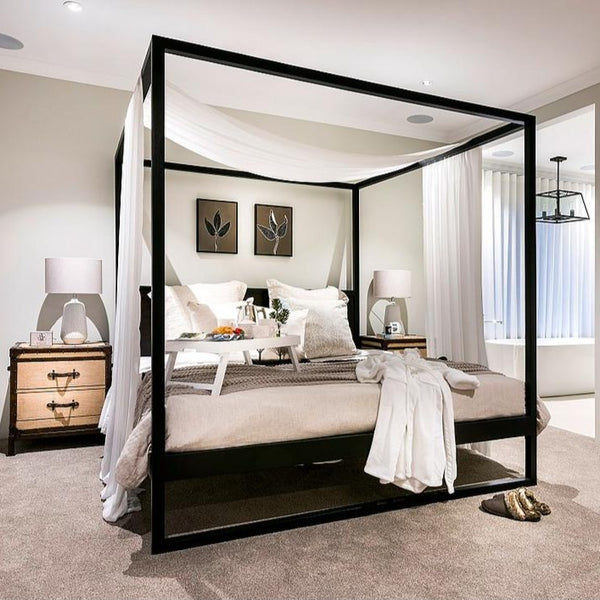 Bed Queen Or King Strand 4 Poster In Black By Uniqwa Cranmore Home