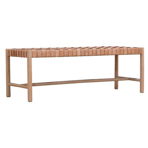 BENCH | woven leather seat in natural by globewest