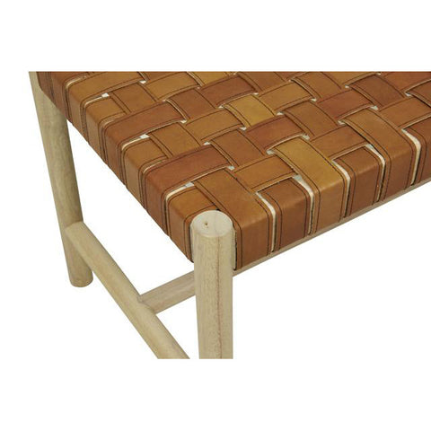 BENCH | woven leather seat in terracotta leather by globewest