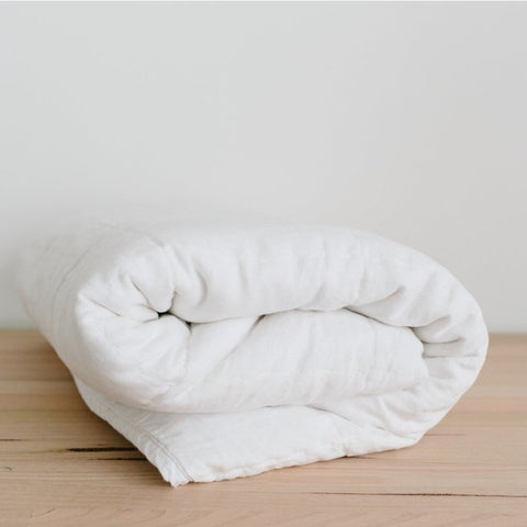 BLANKET | circle-stitched white linen by bedtonic