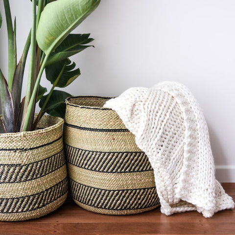 BASKET | Fairtrade Grass Black and Natural