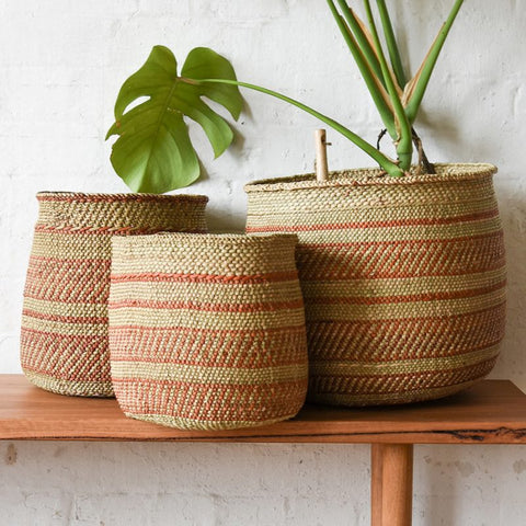 BASKET | African Grass Terracotta and Natural