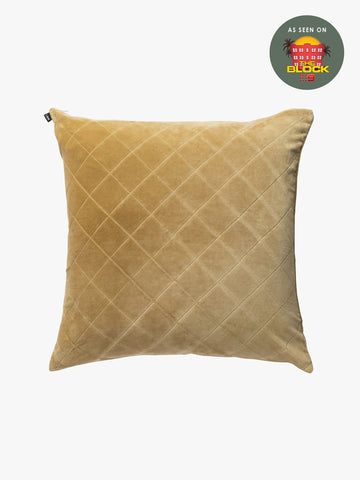 CUSHION | quilted velvet design in Ochre by L+M Home