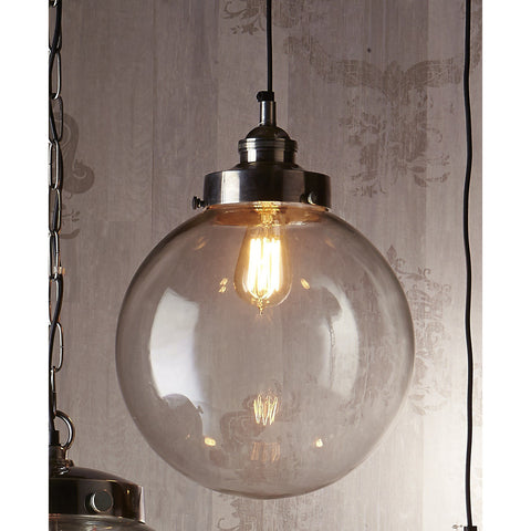 PENDANT LIGHT | glass pendant with antique silver fitting
