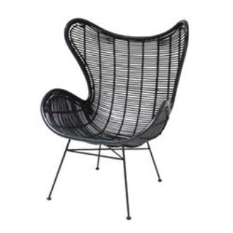 OCCASIONAL CHAIR | egg in black rattan by hk living