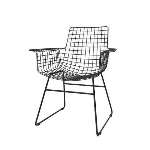 CHAIR | wire wing dining chair in black by hk living
