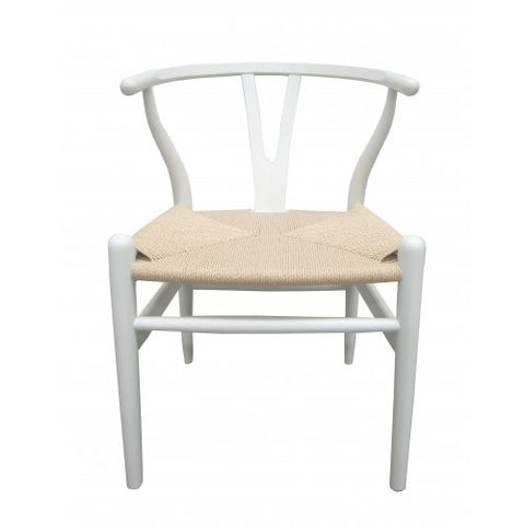 CHAIR | wishbone dining in white with natural seat by MRD Home