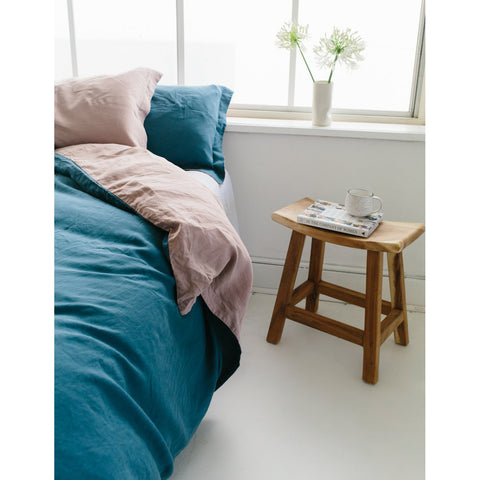 DUVET SET | dusky rose + venice blue linen by bedtonic