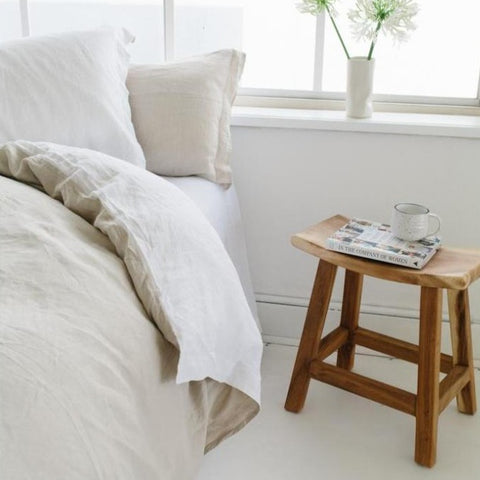 DUVET SET | white + natural linen by bedtonic