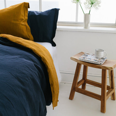 DUVET SET | oxford blue + pindan linen by bedtonic