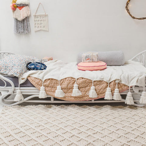 FLOOR RUG | honeycomb diamond weave in cream by OHH