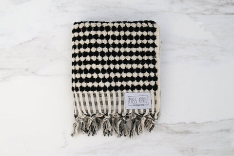 HAND TOWEL | Pom Pom Black by Miss April Towels