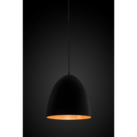 PENDANT LIGHT | matt black with beaten copper inner