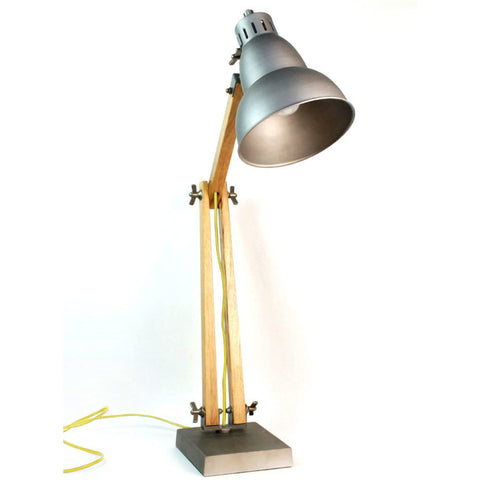 TABLE LAMP | dark metal and wood with mustard cord