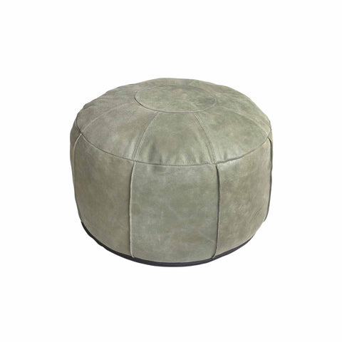 OTTOMAN | army green leather by hk living