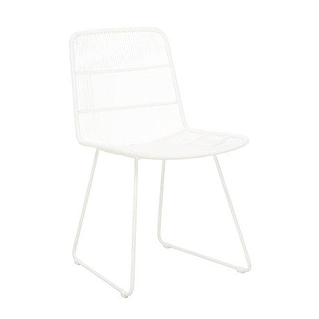 OUTDOOR DINING CHAIR | granada sleigh design in white by globewest