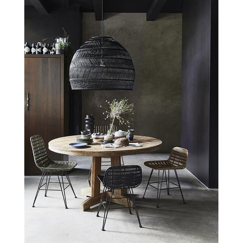 Pendant large handwoven wicker design in black by hk for Salle a manger xxl