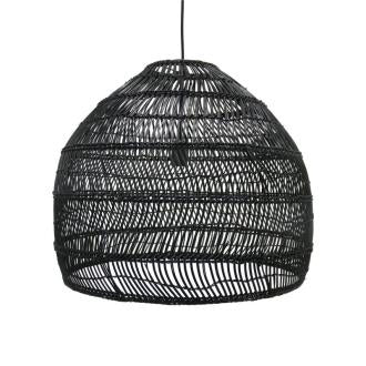 PENDANT | medium handwoven wicker design in black by HK Living