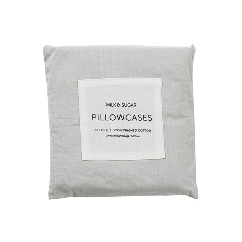 PILLOWCASES | stonewashed grey chambray cotton by milk + sugar
