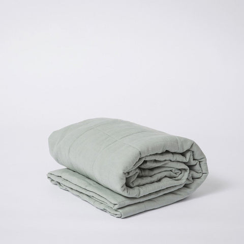 BEDCOVER | quilted sage linen by cultiver