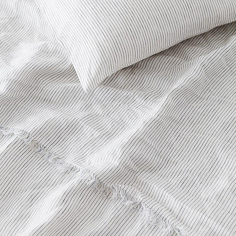 SHEET SET | blue stripe linen by the beach people