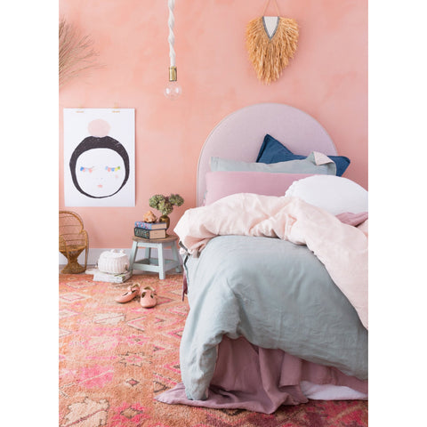DUVET SET | sage + blush linen by bedtonic