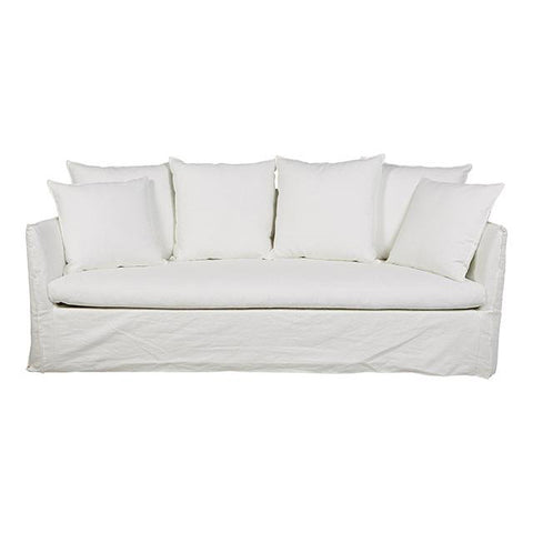 SOFA | vittoria slip cover three seater in milk by globewest