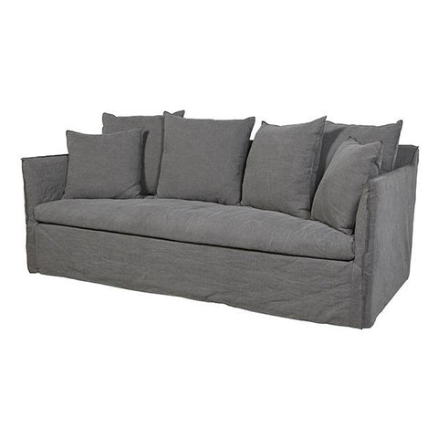SOFA | vittoria slip cover three seater in washed smoke  by globewest