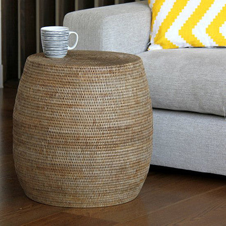 STOOL | SIDE TABLE | greywash rattan 'drum' by satara living